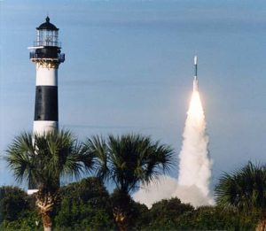 Cape Canaveral Lighthouse during Rocket Launch